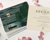 Destination Wedding, Rustic Wedding Invitation, Lake Wedding Invitation Set, Woodland Wedding, Rustic Moonlight, Boat, Lake Invitation Theme