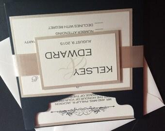 Black, champagne, creme handmade invitation