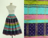 1950's Striped Full Skirt XS S Gold Details