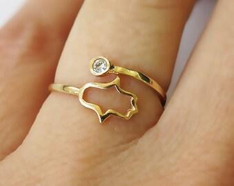gold ring, evil eye hamsa, adjustable ring, stackable ring, band ring, stone ring, thin ring, hamsa ring, gold hamsa, cz ring, gift for her