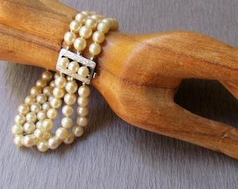 Vintage Pearl Bracelet Triple Strand Silver Clasp