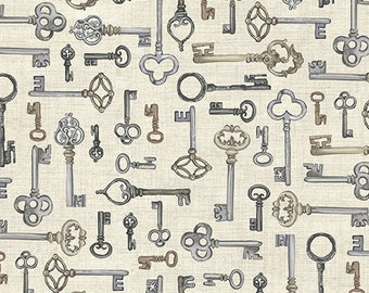 Vintage from Andover Fabrics - Antique Keys, Skeleton Keys Cream