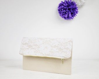 Ivory lace clutch, fold over lace clutch for your chabby chic wedding