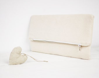 Ivory clutch, nude clutch, nude fold over purse