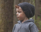 Adult Crochet Slouchy Hat in Charcoal (Morgan)