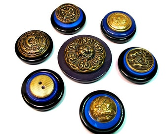 Upcycled Vintage Decorative Button Magnets, Blue and Black, Repurposed Buttons, Handmade Gift Ideas