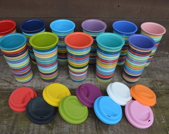 One Silicone Lid for Ceramic Travel Mugs - Pick Your Color