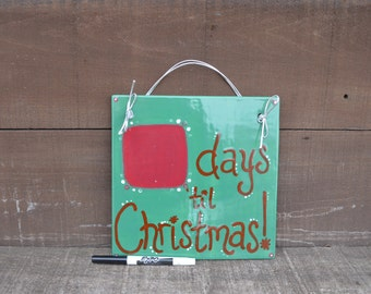 Wintergreen Dry Erase Christmas Calendar Countdown - Ceramic Hanging Tile - Includes Ribbon for Hanging and Dry Erase Marker