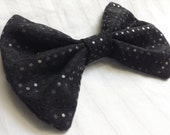 Fabric hair bow black sequin dots