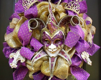 Elegant Mardi Gras Wreath, Mardi Gras Decor, Fat Tuesday Party Decor, Jester Mask Wreath, Fleur De Lis