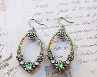 Soft Moss Green Elegant Flower Rhinestone Earrings