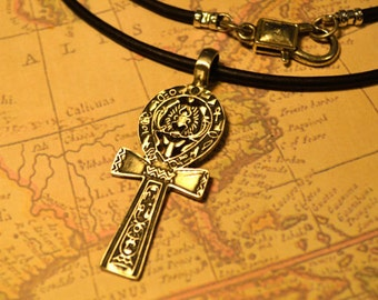 Free Shipping, Leather Necklace, Ankh Cross with Ancient Symbols, Mens Necklace, Mens Jewelry, Mens Gift, Pendant, Distresed Cord