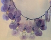 Pressed Violets Fringe Collar Necklace – 1980s Jewelry