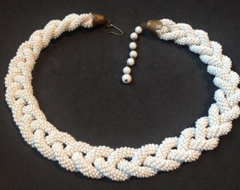 Amazing White Seed Bead Braided Rope Choker Necklace – 1940s Jewelry