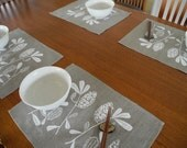 Linen Placemats (set of 4) Screen Printed Linen Place Mats Hand Printed Placemats White&Natural Banksia