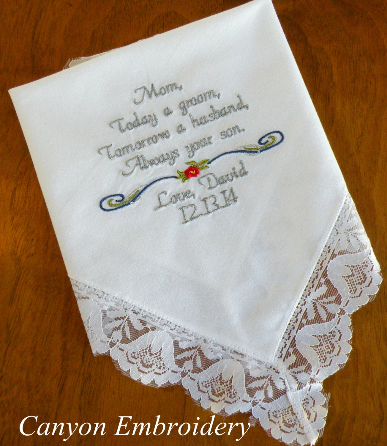 Embroidered wedding handkerchief from groom to mom grooms