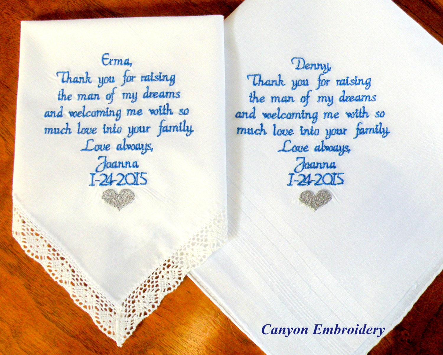 Embroidered Wedding Handkerchief Mother Father Of The