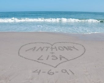 Sand Writing Art, Personalized Beach Print, Unique Valentines Day Gift, Romantic Gifts for Couples, Personalized Anniversary Gift