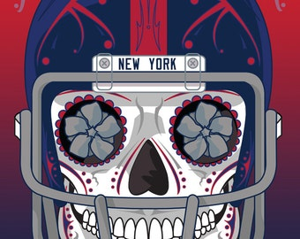 New York Football Giants Sugar Skull 11x14 Print