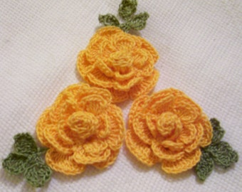 3 roses flowers yellow appliques scrapbooking sewn on home decor handmade embellishments