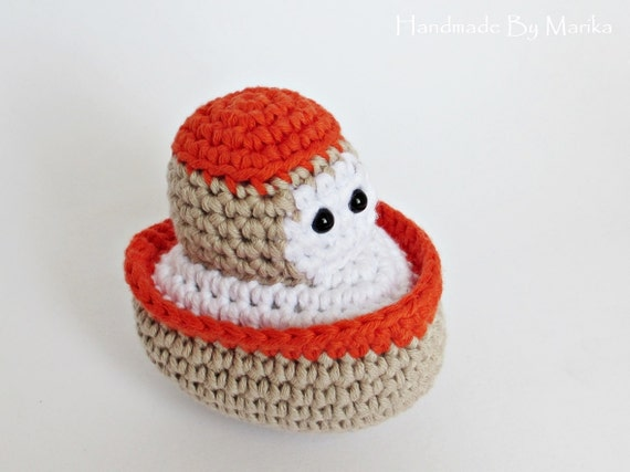 Amigurumi crochet little boat baby rattle stuffed toy - organic cotton - beige and rusty red