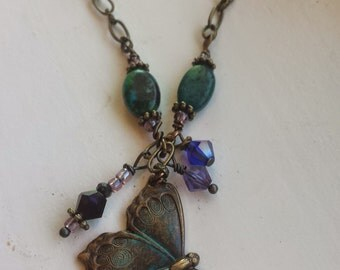 Whimsical vintage butterfly necklace