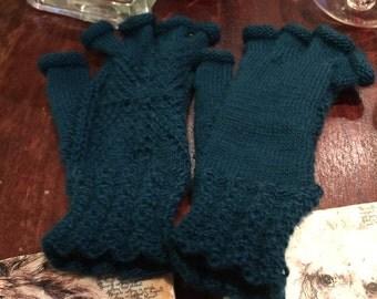 fingerless gloves, hand knit, wool