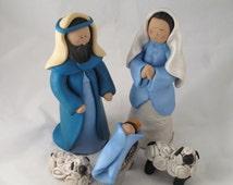 Handmade Clay Christmas Nativity set, Jesus , Mary, Joseph,sheep Figurines