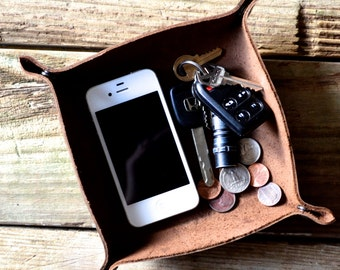 Leather Valet Tray - handcrafted from thick leather