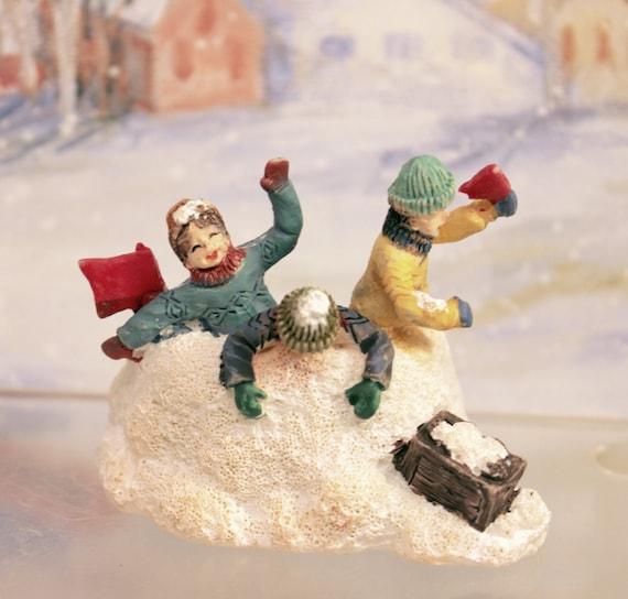 Miniature christmas village figurine children snow fort