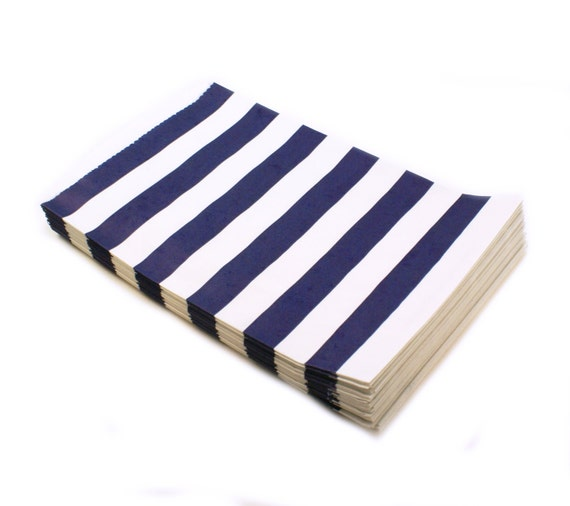 20 NAVY BLUE party favor bags - gift bags with navy blue stripes ...