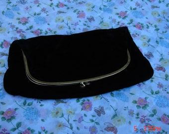 Beautiful Vintage Black Velvet Clutch