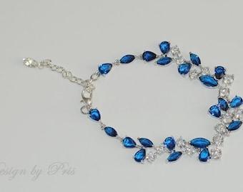SALE Bridal Wedding Jewelry Bridal Bracelet Wedding Accessories - Bridal Sapphire and Clear Rhinestone Bracelet