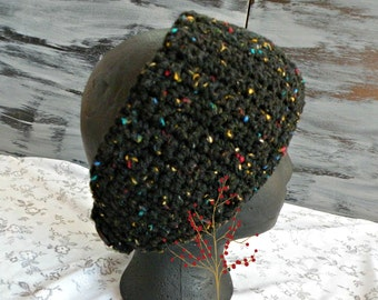Crocheted Headband, Black With Colored Flecks, Wide Earwarmer With 2 Black Buttons