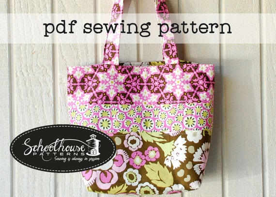 Patchwork Tote Bag handbag purse diaper bag - sewing tutorial pattern - PDF INSTANT DOWNLOAD