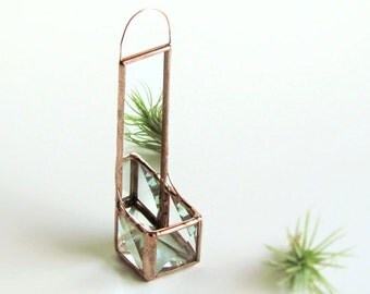 Mini Wall Hanging Air Plant Holder Mirror Clear Beveled Stained Glass Cubed Box Planter Miniature Glass Vase Copper Patina