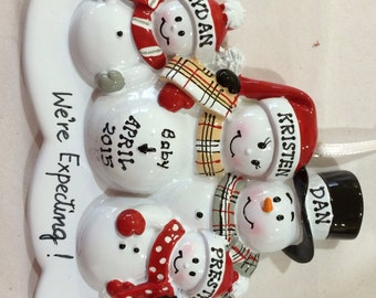 Personalized Christmas Ornament Pregnant Snowman Couple with Third child,Expecting Parents Mom to be, Dad to be