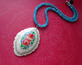 Flower Necklace, Hand Painted Russian Artwork Orange Flower Necklace, Teal Accents, OOAK, Hand Painted Jewelry, Signed Artwork