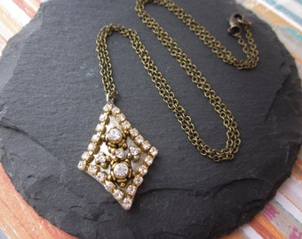 Gold Diamond Shape Pendant Necklace, Crystal Mixed Metals Necklace, Antique Brass Rhinestone Necklace, Gold Diamond Shape Necklace