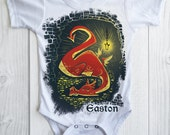 Dragon Onesie, Personalized Hobbit Dragon Smaug Custom Snapsuit