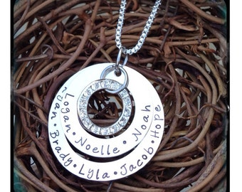 Personalized Hand Stamped Sterling Silver layered Necklace
