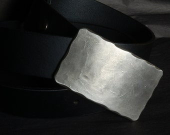 "RAW Silver Suit Belt Buckle Stainless Steel Hand Forged Hypoallergenic Accessories w/ Wavy Border Fits 1-1/4"" Belt for Suits & Dress Pants"