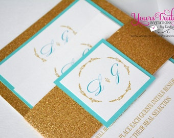 Sample -Regal Monogram Design- Gold and Blue Glitter Wedding, Bat Mitzvah or Party Invitation with custom belly band in your colors
