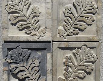 "Autumn Mist - 4""x4"" English Oak and Acorn Leaves - Etched Slate Tiles - SRA"