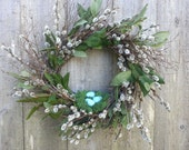 pussy willow wreath with nest