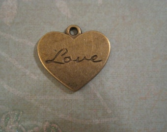 Last Set of 20 antique bronze love heart charms