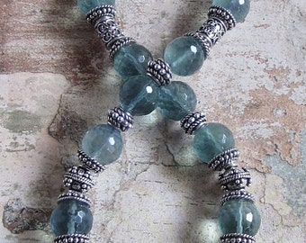 Blue Flourite and Apatite Pendant Necklace