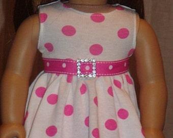 Pink Polka Dot Twirl Dress And Leggings For American Girl Or Similar 18-Inch Dolls