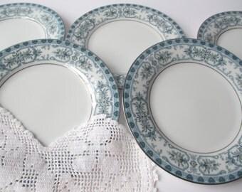 Vintage Noritake Burlington Blue Green Bread & Butter Plates Set of Five