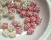 Moroccan art silk  beads/buttons,handmade, flowers rosebud, cream and pale pink wedding collection